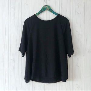 Reiss Navy Flowy Short Sleeve Blouse Size 10